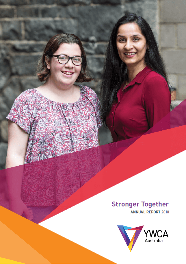 ywca australia annual report front cover 2017-18