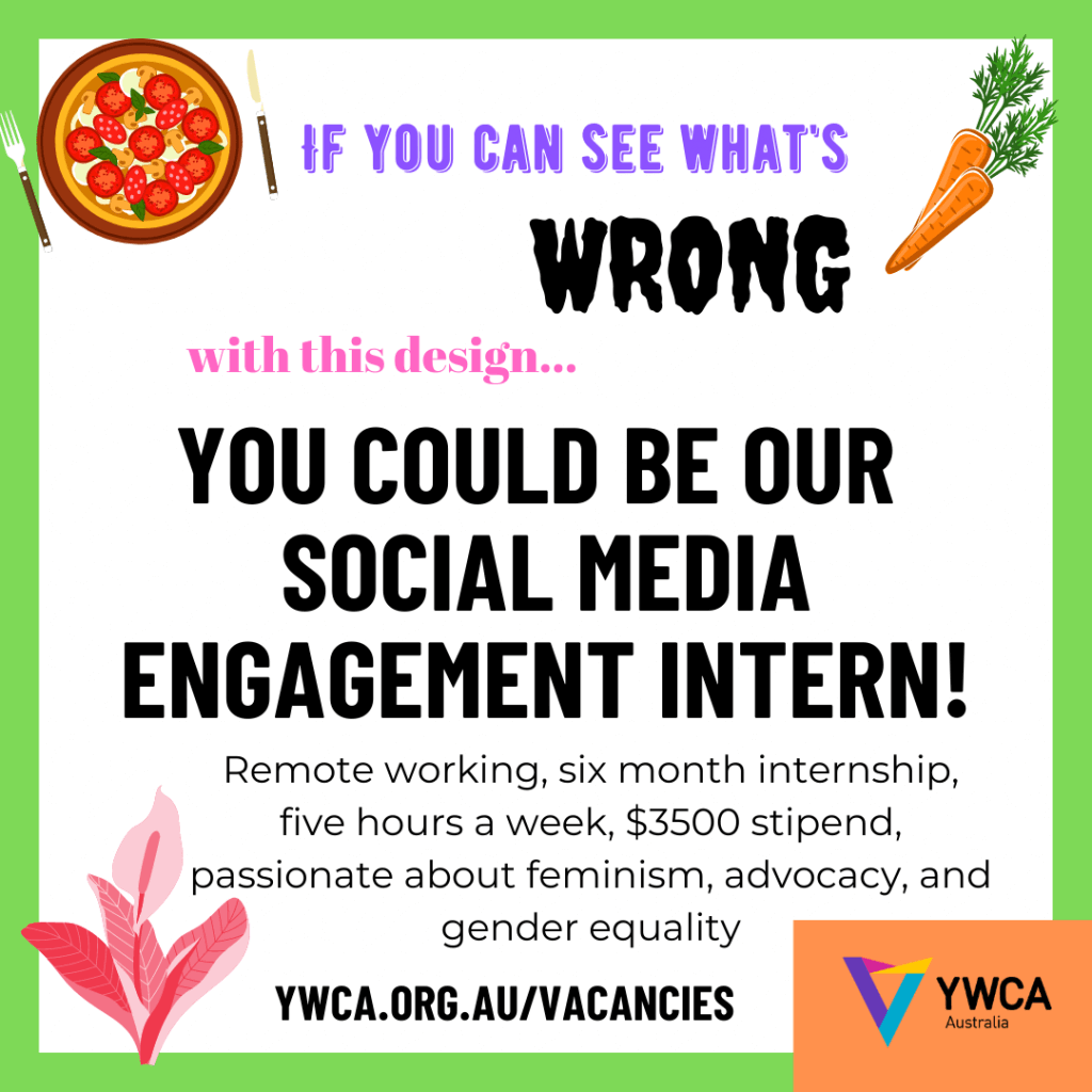 Badly designed ad for a Social Media Engagement Intern
